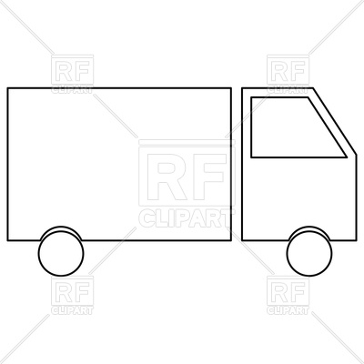 400x400 Truck Outline On White Background Vector Image Vector Artwork Of