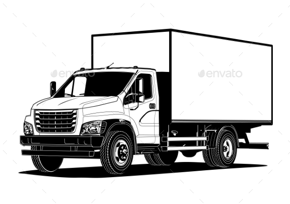 590x417 Vector Truck Outline Template Isolated On White By Mechanik