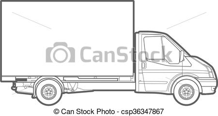 450x239 Vector Outline Truck. Vector Outline Illustration Of A Commercial