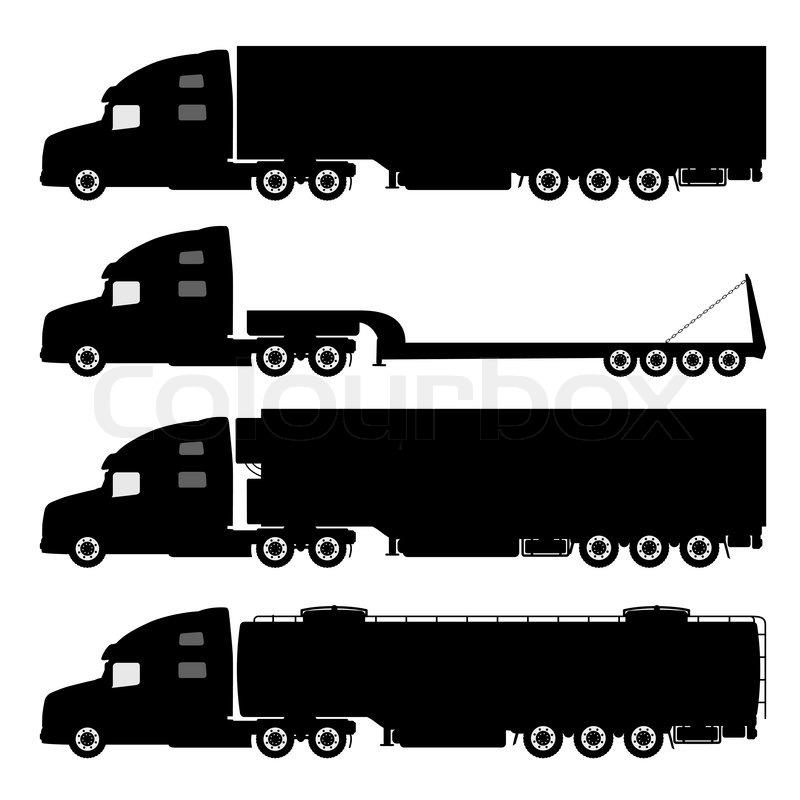 800x800 Vector Set Of Silhouettes The Cargo Trucks. Stock Vector Colourbox
