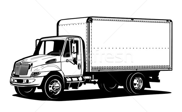 600x369 Vector Truck Outline Template Isolated On White Vector