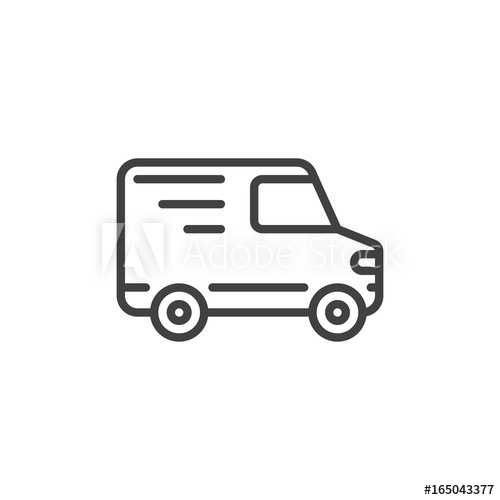 500x500 Delivery Truck Line Icon, Outline Vector Sign, Linear Style