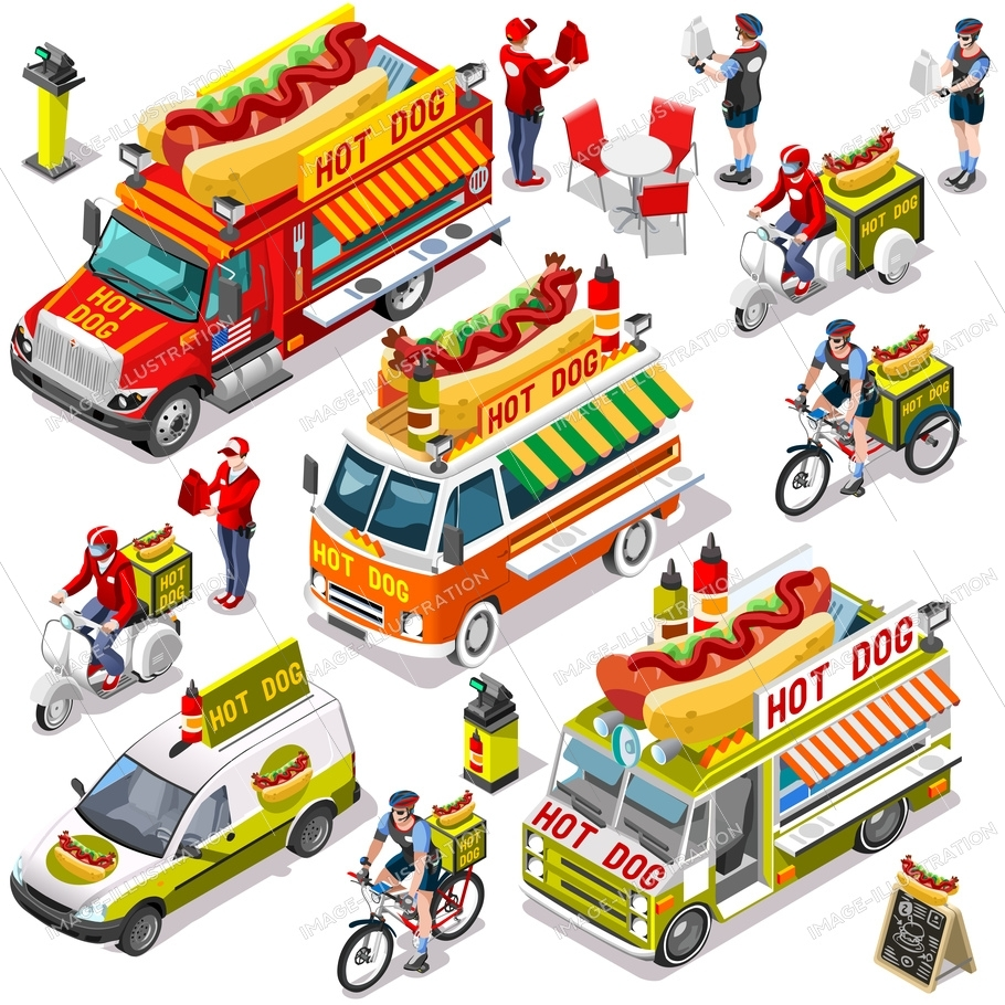 910x910 Food Truck Vector Hot Dog Collection