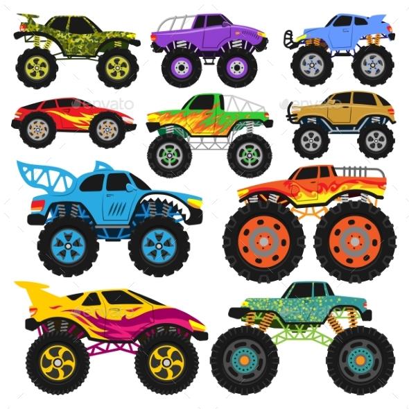 590x590 Monster Truck Vector Cartoon Vehicle Or Car By Pantimetrok