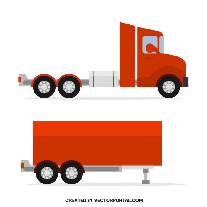 660x660 Red Cargo Truck Vector Image