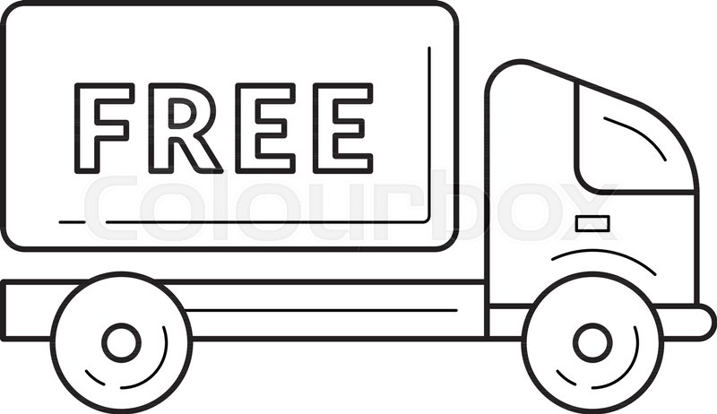 800x462 Free Delivery Truck Vector Line Icon Isolated On White Background