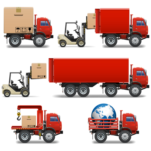 500x500 Red Truck With Forklift Vector Set Free Download