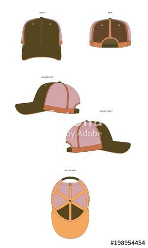 300x500 Trucker Cap Vector Template Mock Up 6 Panel Front View Hat