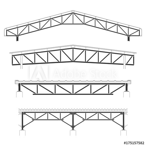 500x500 Roofing Building,steel Frame Cover, Roof Truss Set, Vector