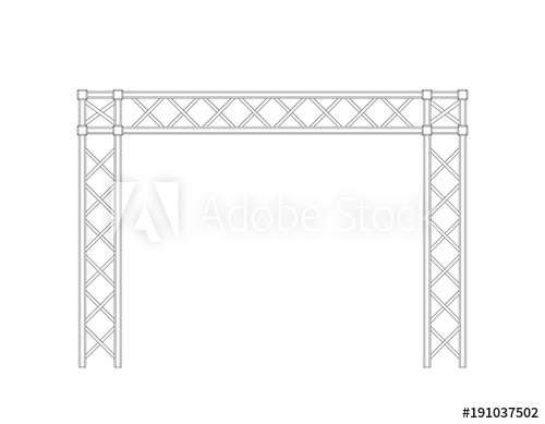 500x389 Truss Construction. Isolated On White Background. Vector Outline