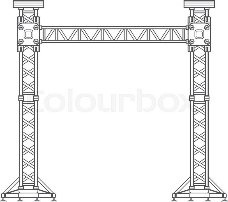 800x707 Vector Dark Grey Outline Stage Sound Lighting Aluminum Truss Tower