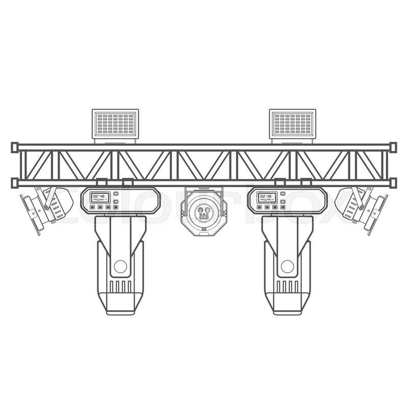 800x800 Vector Monochrome Contour Metal Frame Concert Stage Truss Lighting