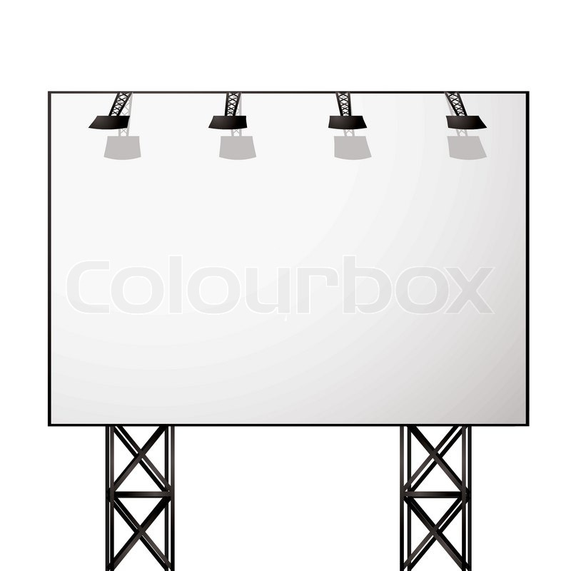 800x800 White Blank Billboard With Black Metal Truss Frame Stock Vector