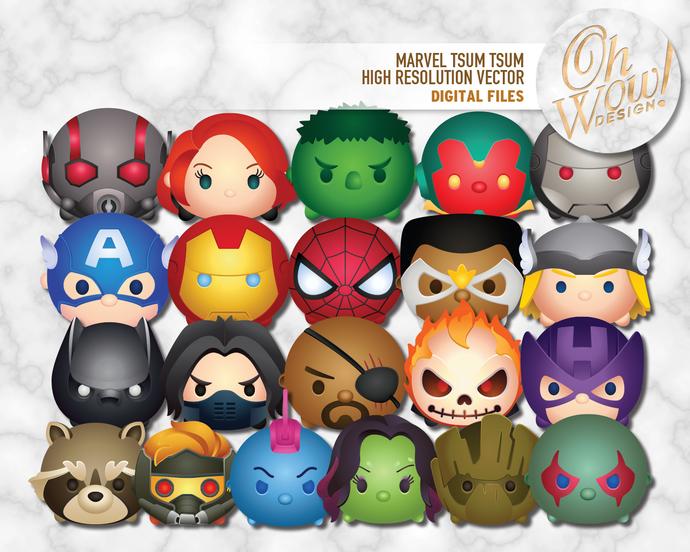 690x552 Marvel Tsum Tsum Character Digital Files By Ohwowdesign On Zibbet