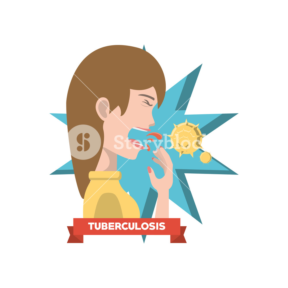 1000x1000 Woman With Tuberculosis Disease And Coughing The Virus Over White