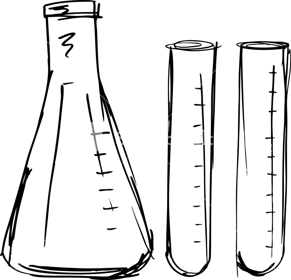 1000x964 Sketch Of Test Tube. Vector Illustration Royalty Free Stock Image