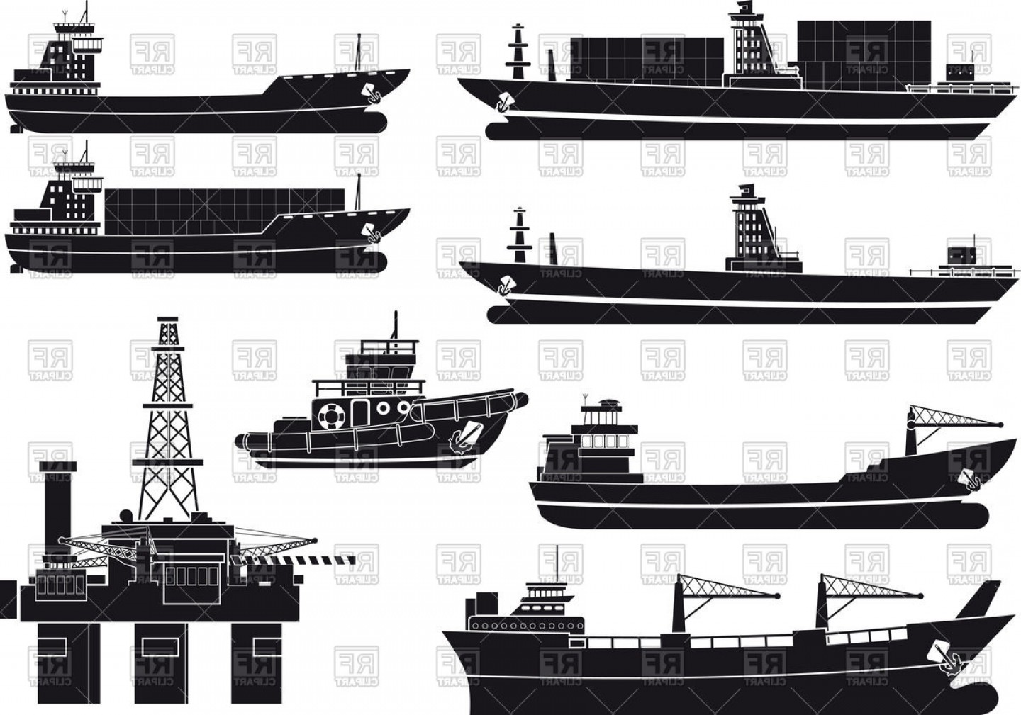 1440x1009 Silhouettes Of Cargo Vessels Tugboat And Oil Platform Vector