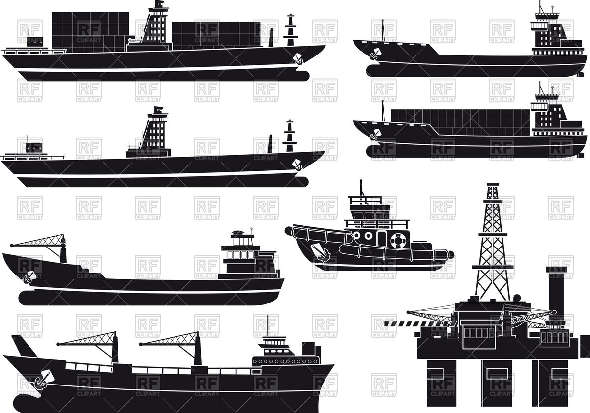 1200x841 Silhouettes Of Cargo Vessels, Tugboat And Oil Platform Vector