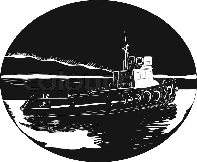 800x659 Illustration Of A River Tugboat, Towboat Or Pushboat In The River