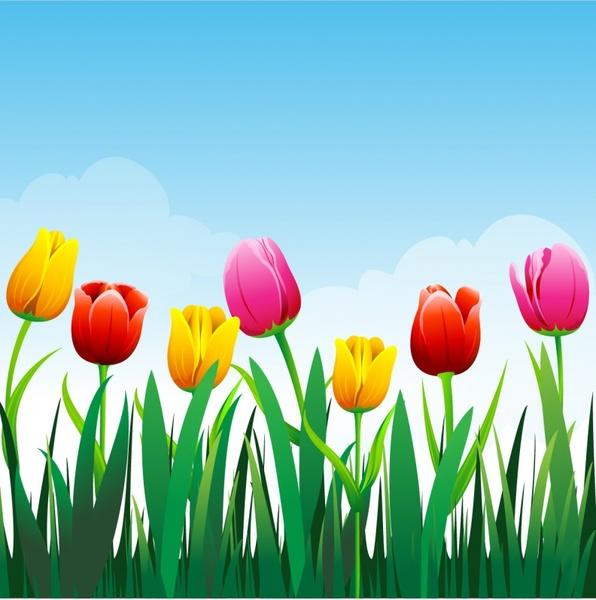 596x600 Free Vector Flower Vector Tulip Flower Background1.14mb