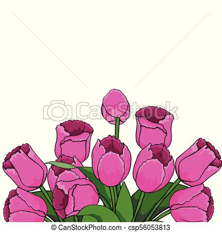 450x470 Spring Text With Tulip Flower. Vector Illustration Eps10. Spring
