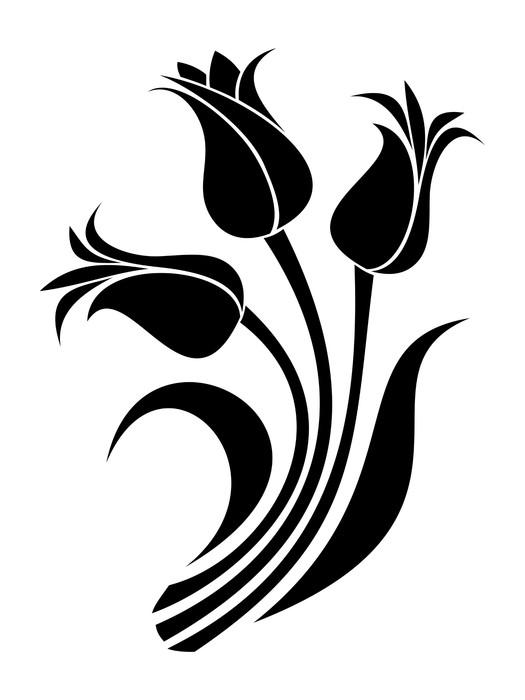 525x700 Black Silhouettes Of Tulips. Vector Illustration. Sticker Pixers