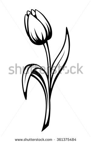 301x470 Vector Black Contour Of A Tulip Flower Isolated On A White