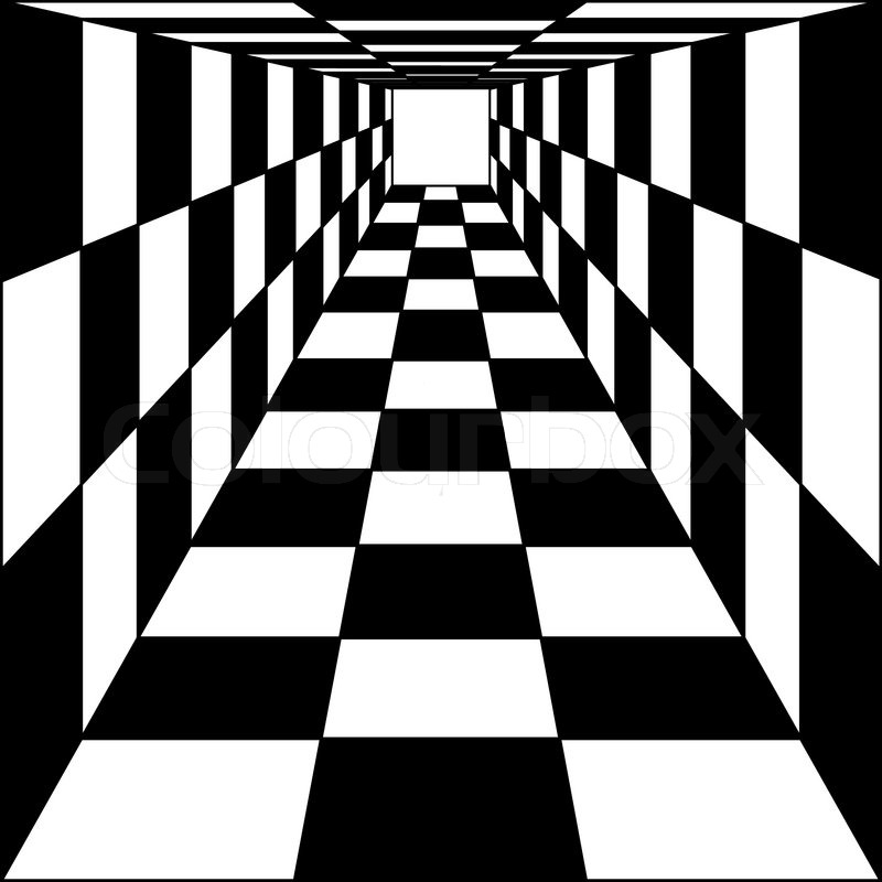 800x800 Abstract Background, Chess Corridor Tunnel Vector Illustration