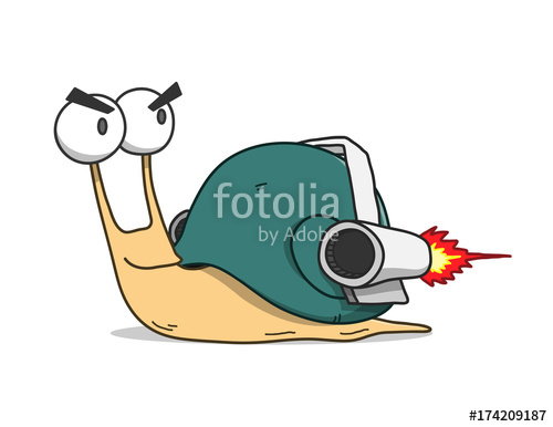 500x386 Snail Wearing Turbo Rocket Speed Booster, A Hand Drawn Vector