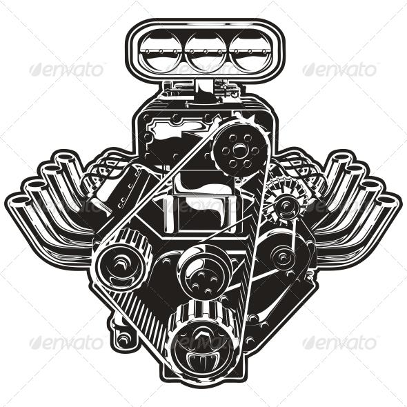 590x590 Vector Cartoon Turbo Engine By Mechanik Graphicriver