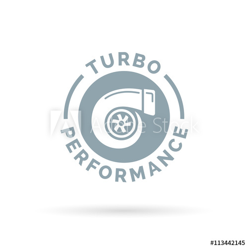 500x500 Turbo Performance Boost Icon With Turbocharger Compressor Symbol