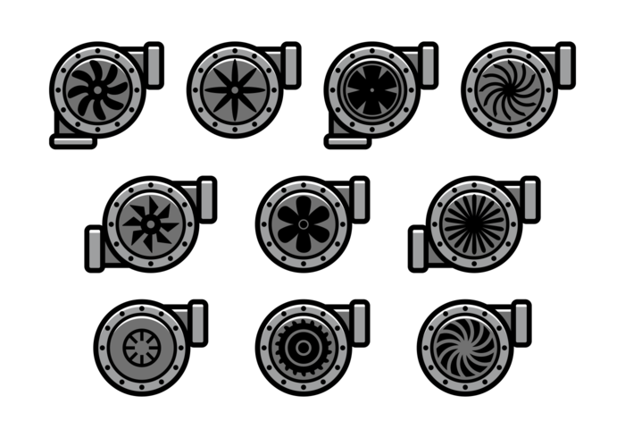 700x490 Turbocharger Vector Icons