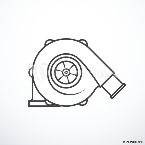 500x500 Vector Turbocharger Isolated. Turbocharger Icon