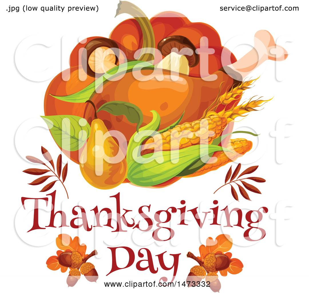 1080x1024 Clipart Of A Turkey Leg And Food With Thanksgiving Day Text