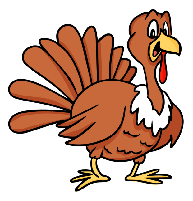 621x644 Pilgrim Chasing Turkey Vector Library