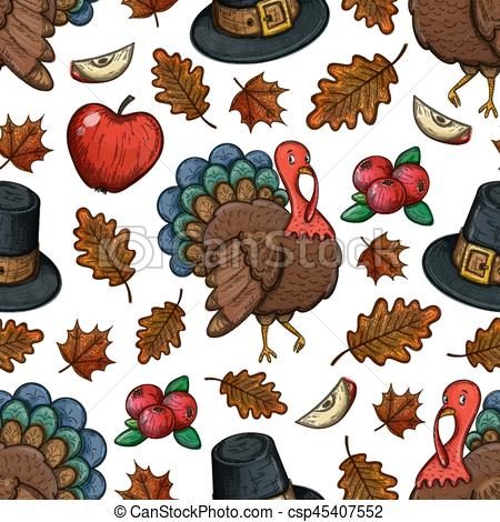 450x470 Seamless Pattern With Turkey. Colorful Sketch Seamless Pattern