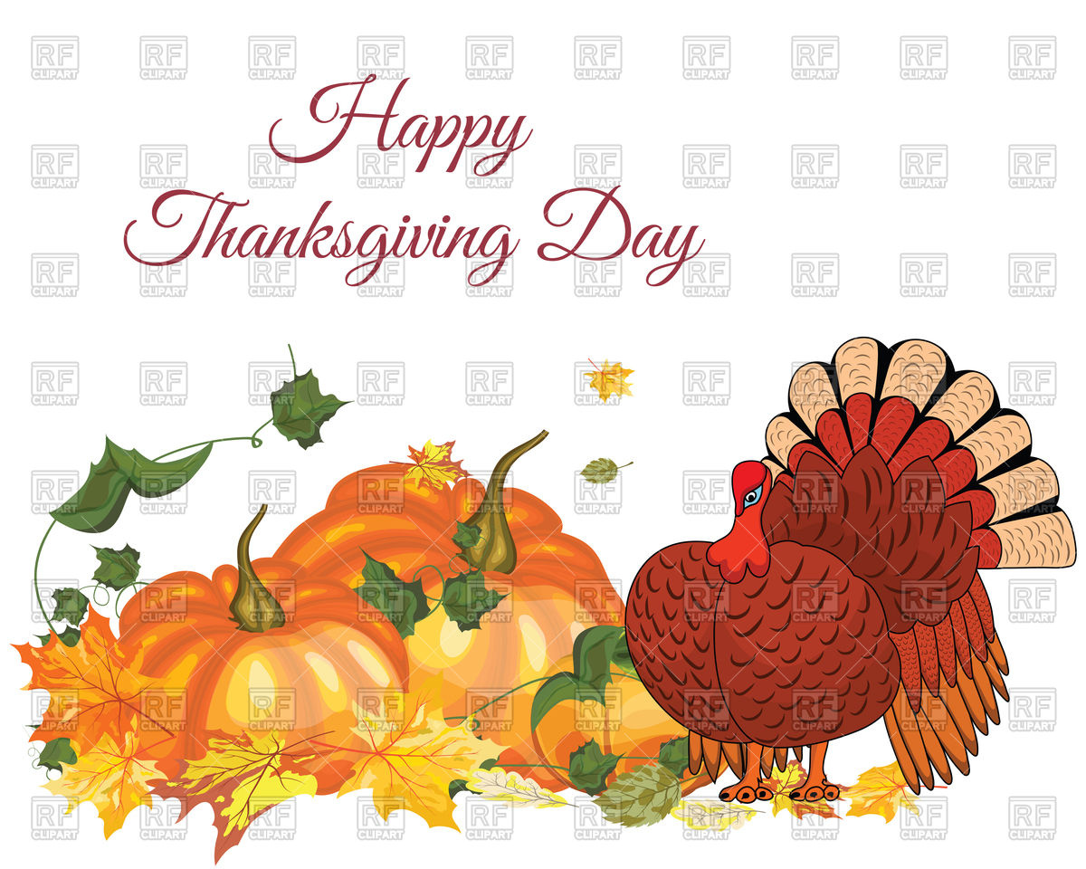 1200x960 Thanksgiving Day Greeting Card With Pumpkin And Turkey Vector