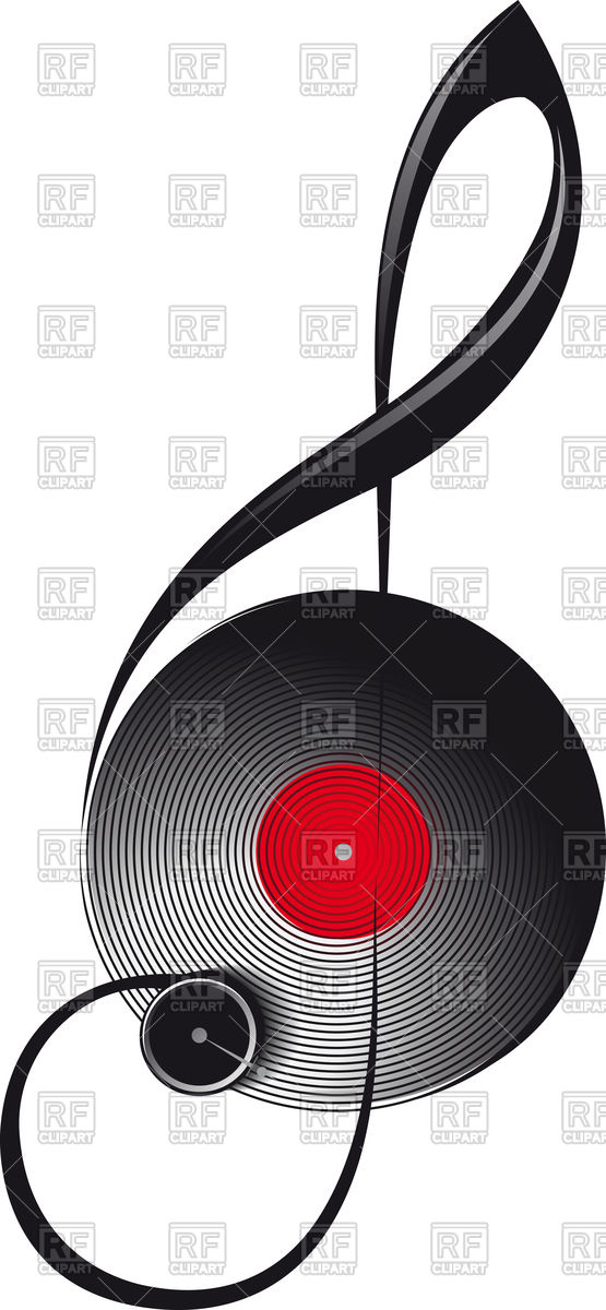 555x1200 The Concept Of Treble Clef In The Form Of Turntable Vector Image