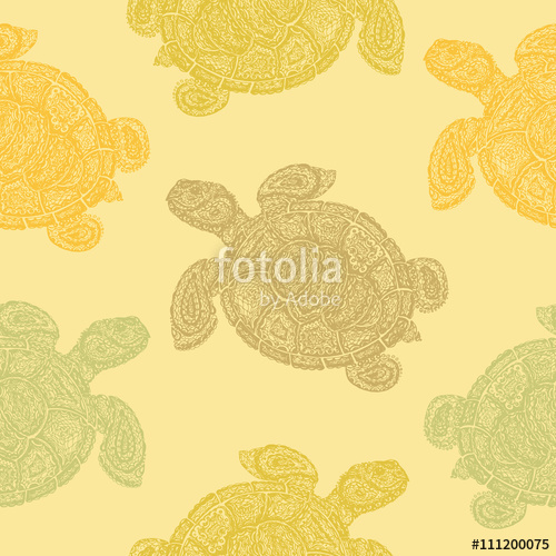 500x500 Sea Turtle Illustration In Paisley Mehndi Style Wallpaper Pattern