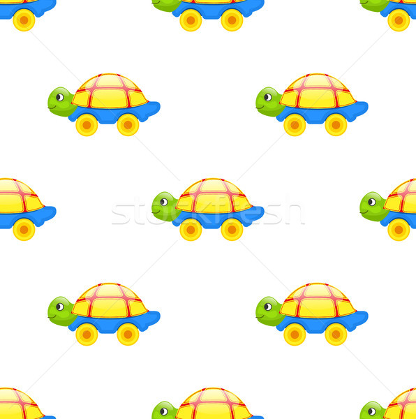 596x600 Seamless Pattern With Toy Turtle On Wheels Isolated Vector