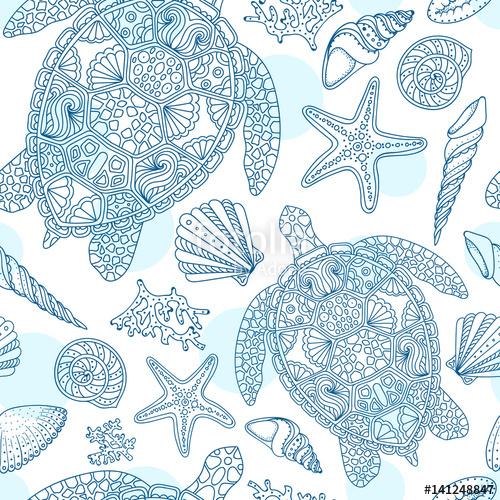 500x500 Seamless Summer Underwater Pattern. Various Shell, Algae, Starfish