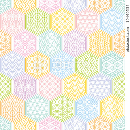 451x450 Japanese Style, Turtle Shell Pattern, Vector
