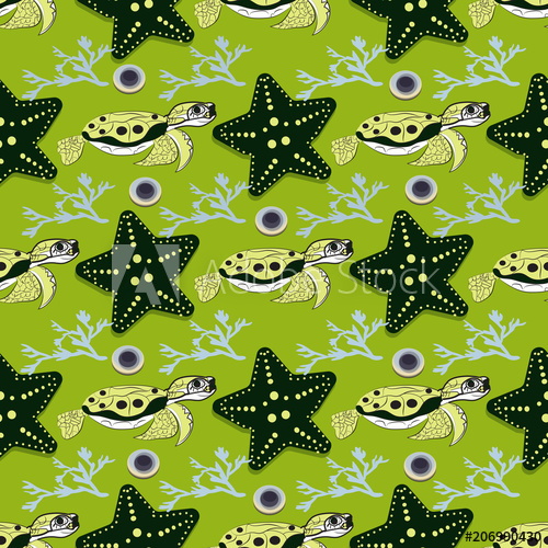 500x500 Cute Ocean Animals On Background. Childish Vector Illustration Of