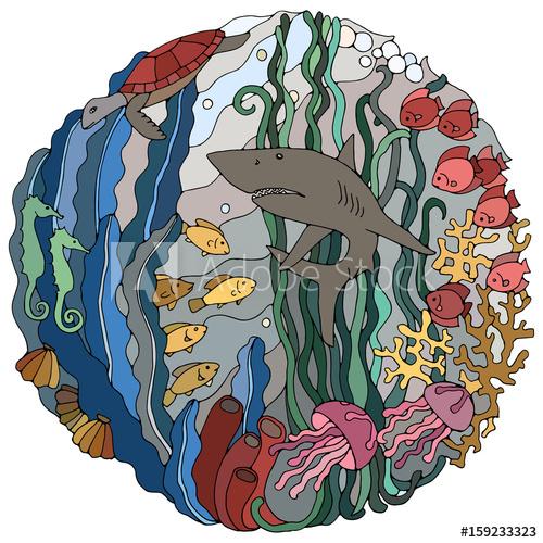 500x500 Decorative Element With A Shark, Algae, Fish, Corals, Turtle