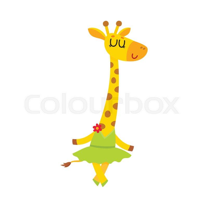 800x800 Happy Cute Little Giraffe Character, Ballet Dancer In Tutu Skirt