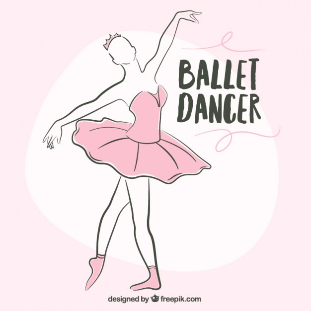 626x626 Sketchy Ballerina With A Pink Tutu Vector Free Download