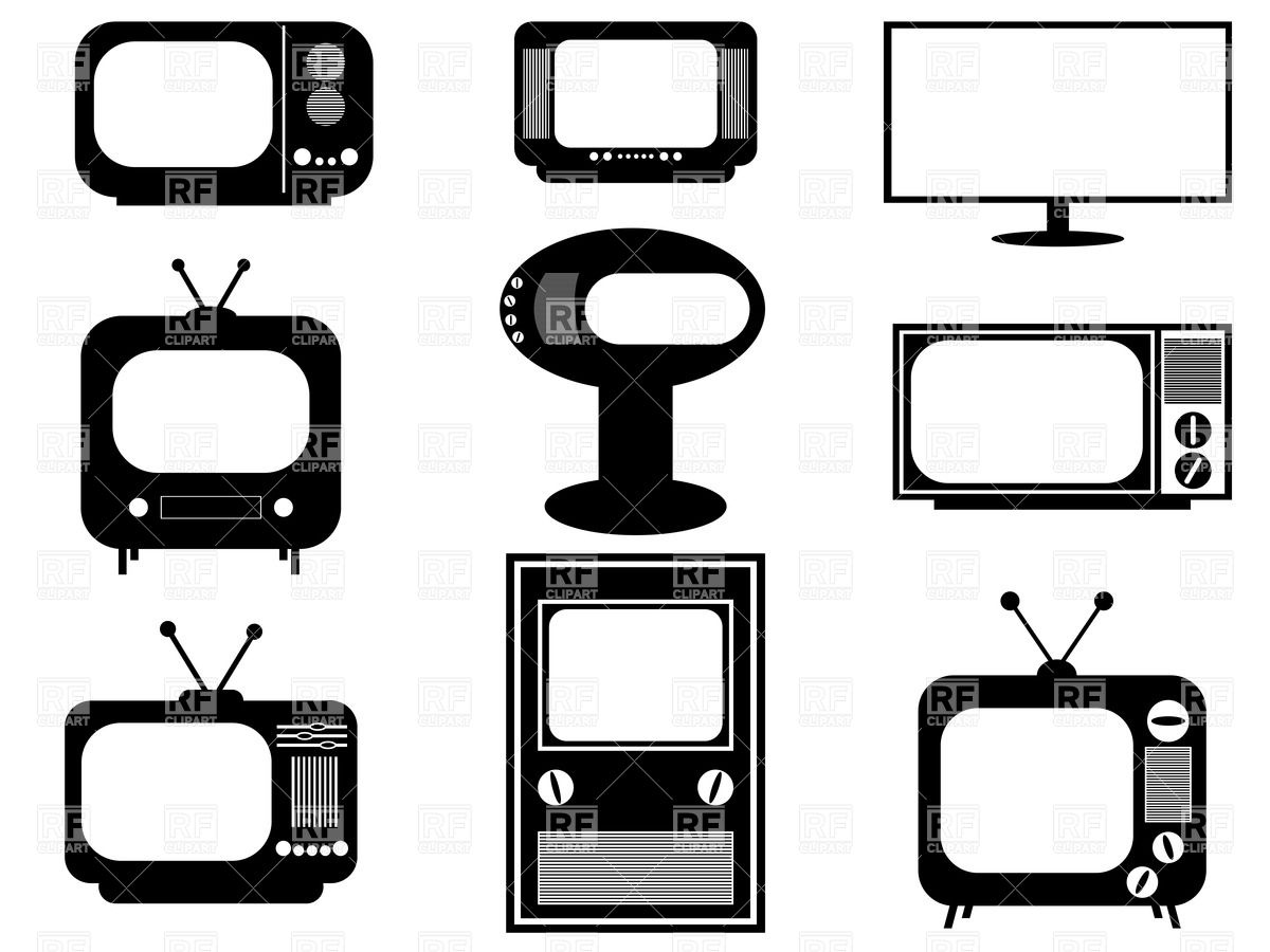 1200x900 Silhouettes Of Retro And Modern Tv Sets Vector Image Vector