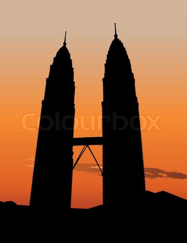 617x800 Petronas Twin Towers In Kuala Lumpur Stock Vector Colourbox