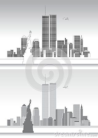 318x450 Vector File, Illustration New York Skyline And Wtc Twin Towers