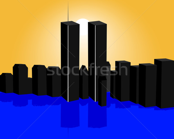600x480 Twin Towers Vector Illustration Sergey Mayboroda (Mayboro1964